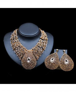 LAN PALACE Golden Copper Alloy Plant Jewelry set