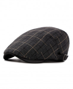 AETRENDS Black Polyester Cotton Plaid Beret Cap