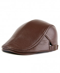 BUTTERMERE Brown Adjustable Leather Beret Cap