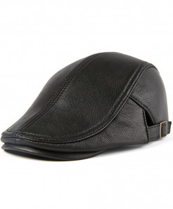 BUTTERMERE Black Adjustable Leather Beret Hat