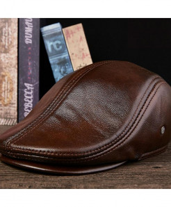 BUTTERMERE Dark Brown Leather Berets Duckbill Cap