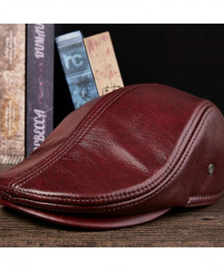 BUTTERMERE Burgundy Leather Berets Duckbill Cap