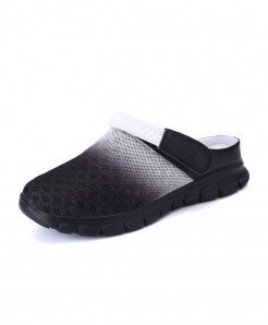 STRONGSHEN Black Air Mesh Slip-On Covered Slippers