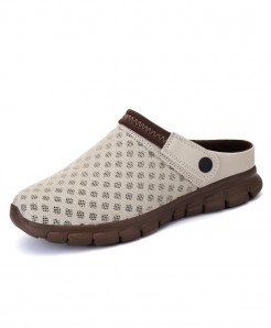 STRONGSHEN Beige Air Mesh Slip-On Covered Slippers
