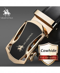 NO.ONEPAUL Golden Black Cowskin Metal Buckle Genuine Leather Belts