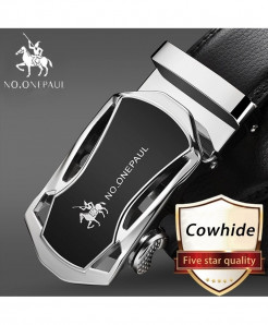 NO.ONEPAUL Silver Black Cowskin Metal Buckle Genuine Leather Belts