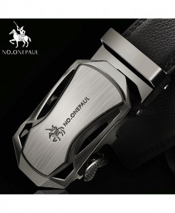 NO.ONEPAUL Light Silver Cowskin Metal Buckle Genuine Leather Belts