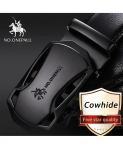 NO.ONEPAUL Black Cowskin Metal Buckle Genuine Leather Belts