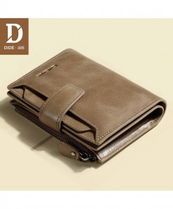 Dide Khaki Interior Compartment Pocket Genuine Leather Wallet