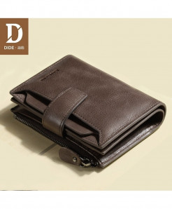 Dide Coffe Interior Compartment Pocket Genuine Leather Wallet