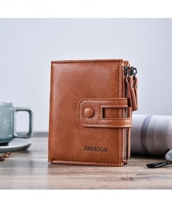 JINBAOLA Brown Interior Zipper Pocket PU Leather Wallet