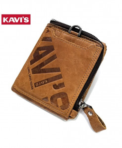 KAVIS Light Brown Zipper & Hasp Genuine Leather Wallet