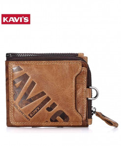KAVIS Brown Zipper & Hasp Genuine Leather Wallet