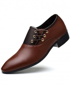 SIKETU Brown Pointed Toe PU Leather Formal Shoes