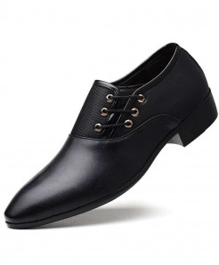 SIKETU Black Pointed Toe PU Leather Formal Shoes
