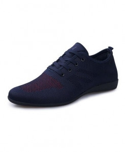 HUANYUE Blue Red Air Mesh Lace-up Casual Shoes