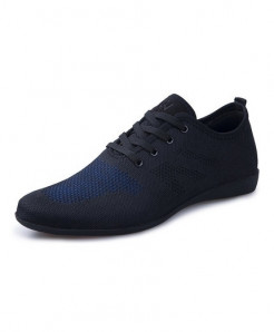 HUANYUE Black Blue  Air Mesh Lace-up Casual Shoes