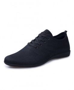 HUANYUE Black Air Mesh Lace-up Casual Shoes