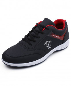 MOSHU Black Microfiber Synthetic Casual Shoes