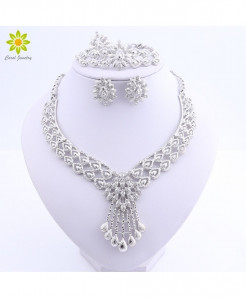 OUHE Silver Zinc Alloy Crystal Plant Jewelry Sets