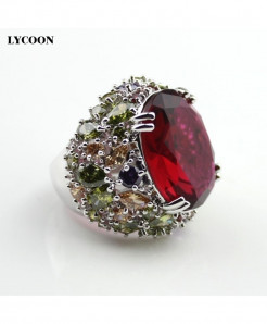 LYCOON Platinum Plated Red Cubic Zirconia Crystal Rings