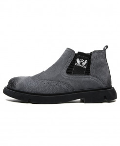 ALCUBIEREE Gray Pu Slip-On Breathable Boots