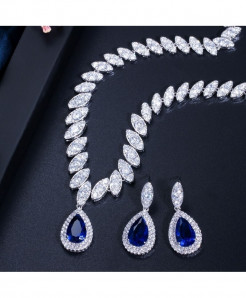 CWWZircons Blue Cubic Zirconia Trendy Shape Water Drop Jewelry Sets