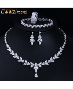 CWWZircons Metal Brilliant Cubic Zircon Plant Jewelry Sets