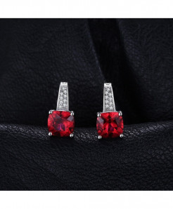 JewelryPalace Red Silver Trendy Ruby 925 Sterling Clip Earrings