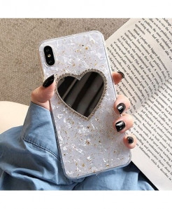 GlamPhoneCase White Heart Design Mirror Phone Case For iPhone