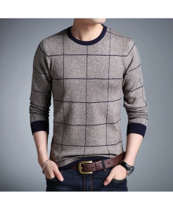 HANQIU Gray Blue Lining O-Neck Cotton Pullovers Sweaters