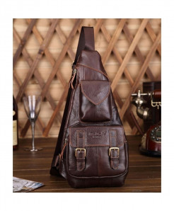 NoEnName_Null Coffee Cow Leather Polyester Zipper Pack Bag