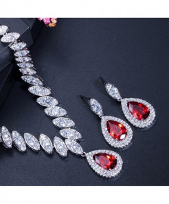 CWWZircons Red Cubic Zirconia Trendy Shape Water Drop Jewelry Sets