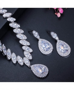CWWZircons White Cubic Zirconia Trendy Shape Water Drop Jewelry Sets