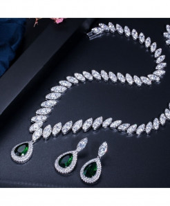 CWWZircons Green Cubic Zirconia Trendy Shape Water Drop Jewelry Sets