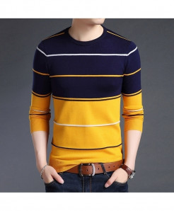 LANGBEEYAR Blue Yellow Pullovers Polyester O-Neck Sweater