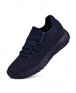LEMAI Navy Blue Breathable Lace-Up Flywire Eva Air Mesh Casual Shoes