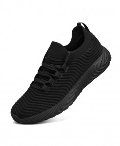 LEMAI Black Breathable Lace-Up Flywire Eva Air Mesh Casual Shoes