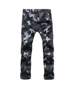 Straight Gray Camo Zipper Fly Polyester Broadcloth Warm Pants