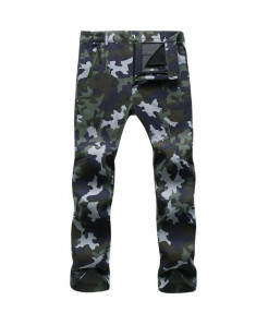 Straight Green Camo Zipper Fly Polyester Broadcloth Warm Pants