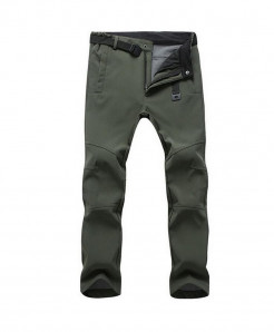 Straight Army Green Zipper Fly Polyester Broadcloth Warm Pants