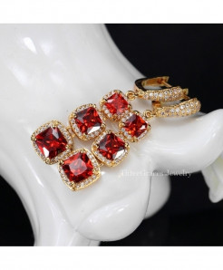 ThreeGraces Jewelry Red Copper Cubic Zirconia Stone Crystal Earrings