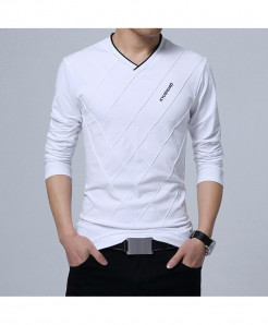 BROWON White Argyle Cotton V-Neck Slim Fit Full Sleeve T Shirt