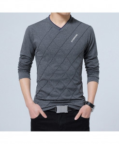 BROWON Dark Gray Argyle Cotton V-Neck Slim Fit Full Sleeve T Shirt