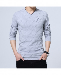 BROWON Gray Argyle Cotton V-Neck Slim Fit Full Sleeve T Shirt