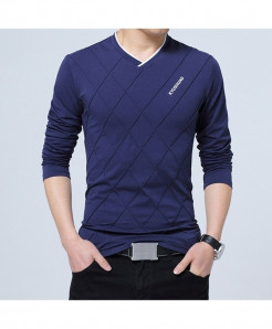 BROWON Blue Argyle Cotton V-Neck Slim Fit Full Sleeve T Shirt
