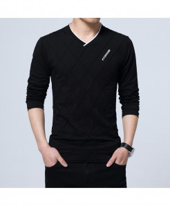 BROWON Black Argyle Cotton V-Neck Slim Fit Full Sleeve T Shirt