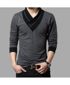 BROWON Gray Slim Fit V-Neck Cotton Tees Full Sleeve T Shirt