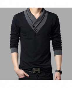BROWON Black Slim Fit V-Neck Cotton Tees Full Sleeve T Shirt