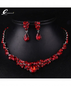 Queenco Red Water Drop Trendy Crystal jewelry set